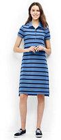 Lands' End Women's Petite Short Sleeve Polo Dress-Radiant Navy Narrow Stripe