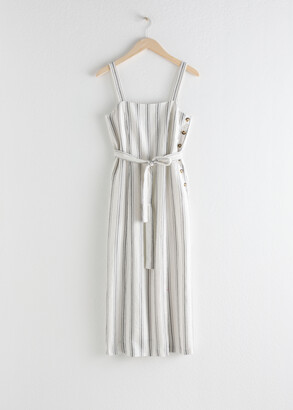 And other stories Belted Linen Midi Dress