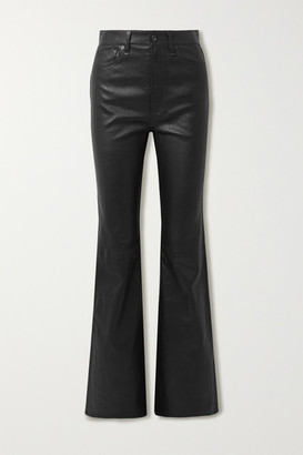 Rag & Bone Jane Super Leather Flared Pants - Black