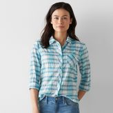 Women's SONOMA Goods for LifeTM Plaid Tie-Front Shirt