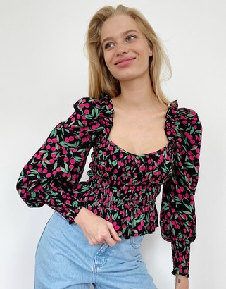 Topshop shirred prarie blouse in cherry print