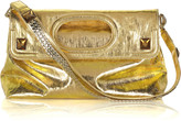 Metallic linen fold-over clutch