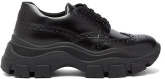 Prada Chunky-sole Leather Brogue Trainers - Mens - Black