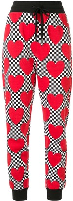 Love Moschino Heart Checkered Drawstring Trousers