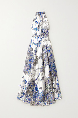 Raquel Diniz Giovanna Printed Silk-satin Halterneck Maxi Dress - Blue