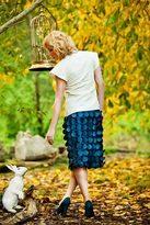Shabby Apple Curiouser and Curiouser Skirt Blue