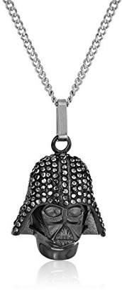 Star Wars Jewelry Darth Vader Stainless Steel with Clear Gem Pendant Necklace