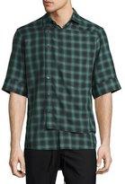 Public School Deconstructed Plaid Short-Sleeve Shirt, Dark Green