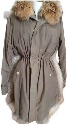 Joseph Khaki Raccoon Coat for Women