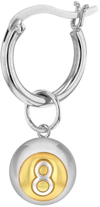 True Rocks 2 Tone Sterling Silver & 18Kt Gold Plated 8 Ball Mini Charm On Silver Hoop
