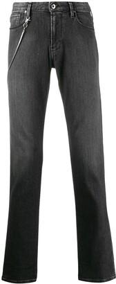 Emporio Armani Chain Detail Straight Leg Jeans