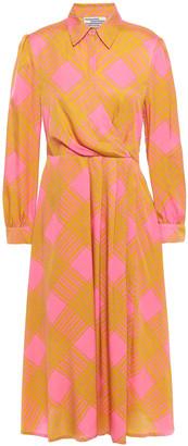 Baum und Pferdgarten Pleated Checked Stretch-silk Twill Dress