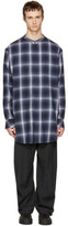 Baja East Navy Plaid Shirt