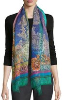 Etro Floral Paisley Dip-Dye Scarf, Turquoise