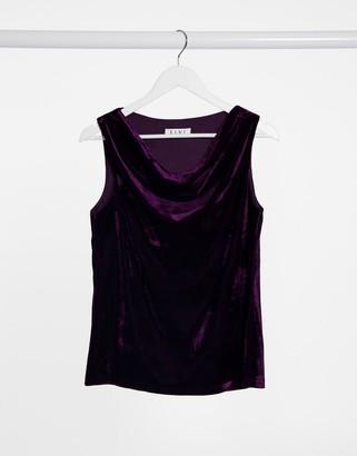 ELVI velvet cowl neck top in purple
