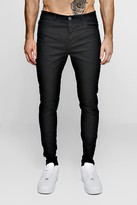 boohoo Mens Black Stretch Skinny Jeans With Ripped Knees, Black