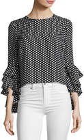 Milly Gabby Dot-Print Silk Georgette Blouse, Black