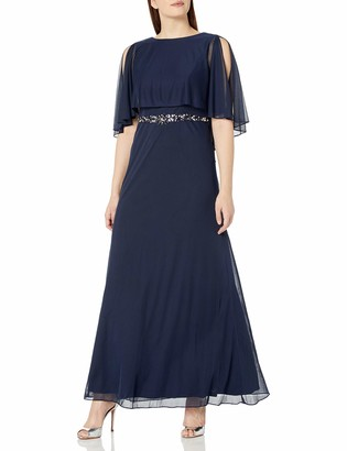 Cachet Women's Gown with Chiffon Overlay and Beaded Waist