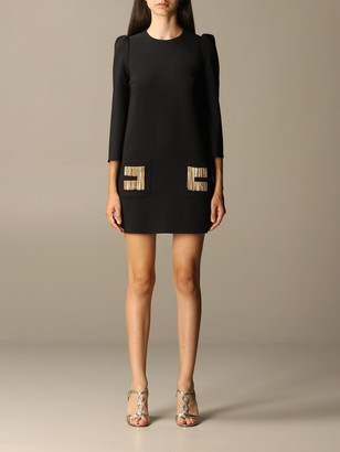 Elisabetta Franchi Celyn B. Elisabetta Franchi Dress 3/4 Cady Sleeve With Fringed Logo