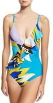 Emilio Pucci Fiore Maya Printed One-Piece Swimsuit with Ruffle, Blue Pattern