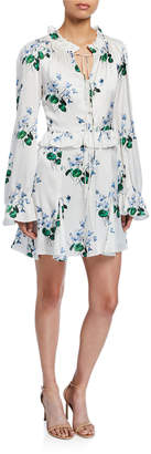 Les Rêveries Ruffle Long-Sleeve Floral Mini Dress with Godet Skirt