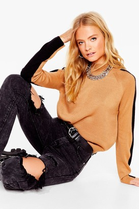 Nasty Gal Womens Knit Takes Two-Tone High Neck Relaxed Jumper - Beige - S, Beige