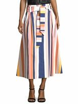 Tanya Taylor Shelby Striped Midi Skirt