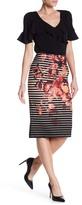 ECI Printed Pique Midi Skirt