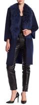 Zac Posen Lauren Mid Length Wool & Genuine Mongolian Lamb Fur Reversible Coat