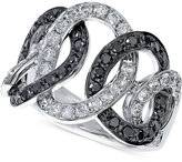 Effy Black and White Diamond Entwined Circle Ring (1-1/3 ct. t.w.) in 14k White Gold