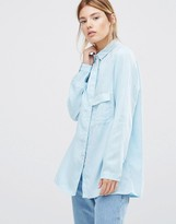 WÅVEN Laure Long Sleeve Luxe Shirt in Blue