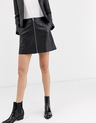 Muu Baa Muubaa zip front a-line leather skirt-Black