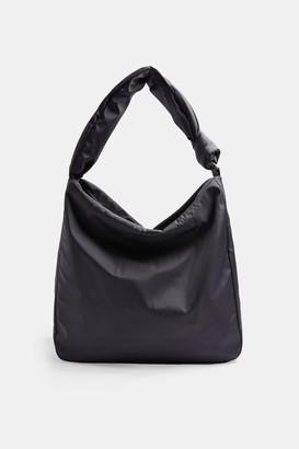 Topshop CONSIDERED Black Knitted Nylon Hobo Bag