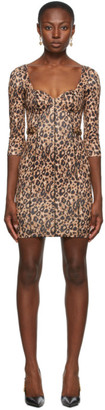 Versace Beige and Black Leopard Bustier Dress