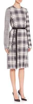 Calvin Klein Multi Plaid Belted Silk Dress