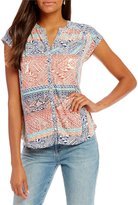 Lucky Brand Split V-Neck Button Front Rena Border Print Knit Top