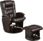 Asstd National Brand Petersonville Faux-Leather Glider with Ottoman