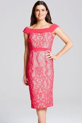 Little Mistress Cherry Lace Overlay Bardot Dress