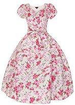 Looking Glam Ladies 1950's Sweet Heart Cap Sleeve Mid Tie Retro Vintage Dress Size 12