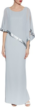 Gina Bacconi Tiffany Sequin Trim Crepe Maxi Dress
