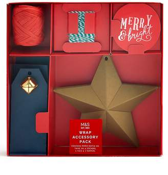 Marks and Spencer Luxury Red & Gold Christmas Wrapping Accessory Pack- 17 Pieces