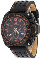Adee Kaye #AK6566-M Men's Black IP Tachymetre Bezel Leather Band Chronograph Watch