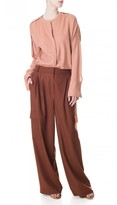 Tibi Owen Twill Wide-Leg Pants