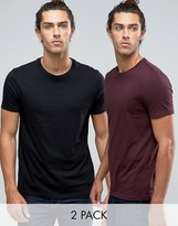 Asos 2 Pack T-Shirt In Black/Red SAVE