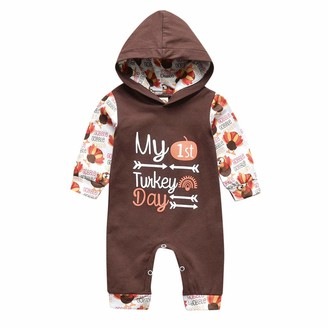 JKstore Baby Jumpsuit Girls Boys Outfit My First Thanksgiving Halloween Pumpkin Christm Turkey Long Sleeve Hooded Rompers Brown