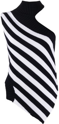 Monse One Shoulder Striped Knit Top