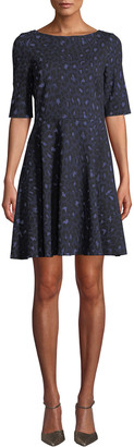 Kate Spade Leopard Lace-Up Ponte Dress