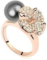 Daesar Womens Ring Gold Plated Flower Ball Cubic Zirconia Engagement Ring Size 6.5