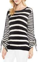 Vince Camuto Drawstring Sleeve Stripe Sweater