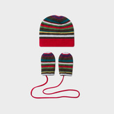 Paul Smith Baby Boys' Wool-Cashmere Striped Hat And Mitten Set